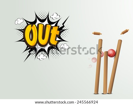 Red cricket ball hitting the wicket stumps with text Out on pop art explosion. - stock vector