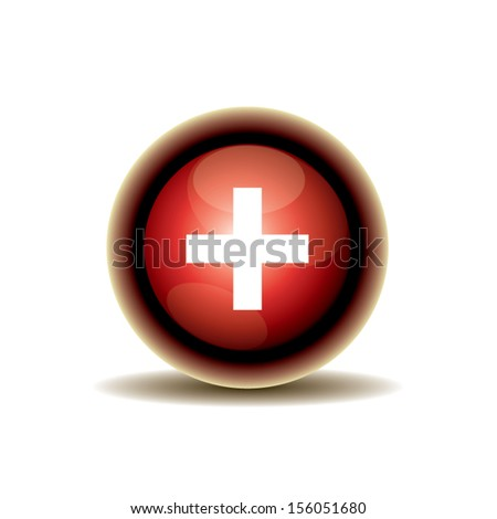 red cross button design. vector illustration - stock vector