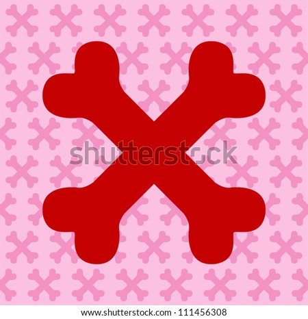 Red Crossbones - stock vector