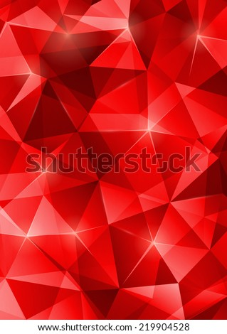 Red crystal abstract pattern. Vector illustration. Festive background. Sparkles, lights. Great for Christmas or New year invitations background. Colorful mosaic pattern. - stock vector