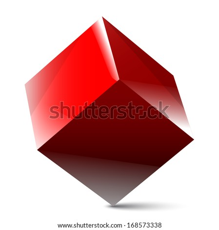 Red cube - stock vector