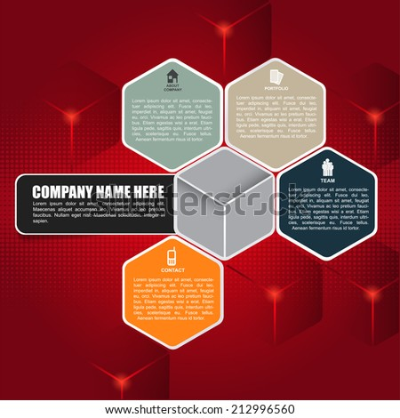 Red cubic vector background for brochure or web. Design with four business icons and place for text. - stock vector