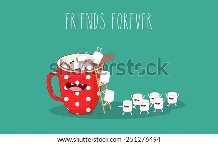 Red cup. Coffee with marshmallows. Vector cartoon. Friends forever. - stock vector