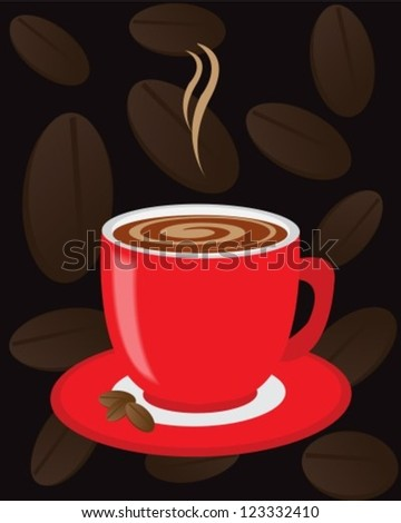 Red cup of coffee on a dark background with coffee beans - stock vector