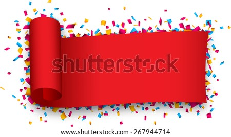 Red curled ribbon over confetti. Vector illustration.  - stock vector