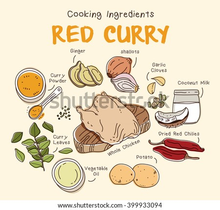 Red curry with chicken ingredients set - stock vector