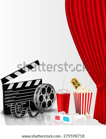 Red curtain and film object with popcorn, soda, ticket and eyeglasses - stock vector