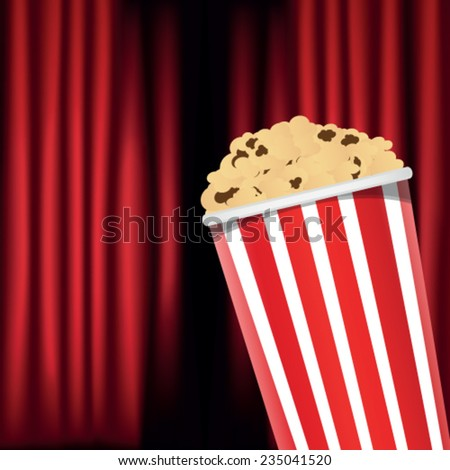 red curtain and popcorn box - stock vector