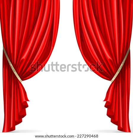 Red curtain collected in folds ribbon isolated on a white background - stock vector