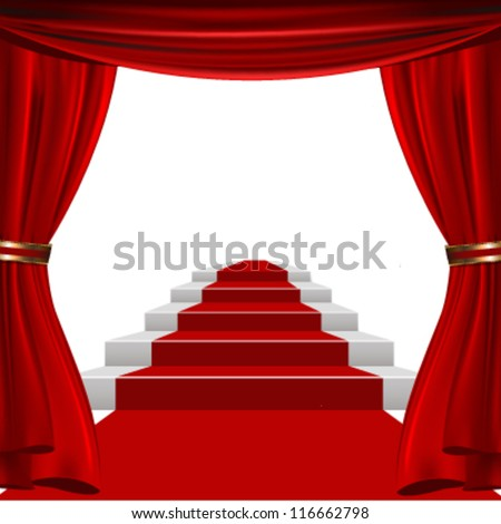 red curtain design - stock vector
