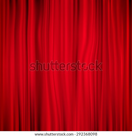 Red curtain on theater background. EPS 10 vector file included - stock vector