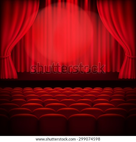 Red curtain template. EPS 10 vector file included - stock vector