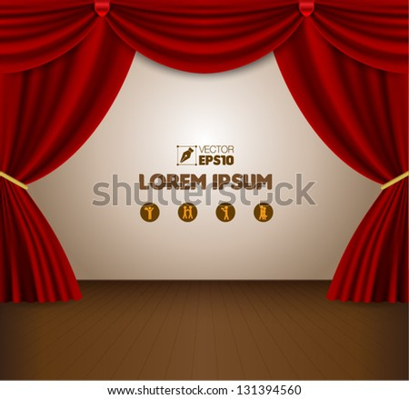 Red curtain vector - stock vector