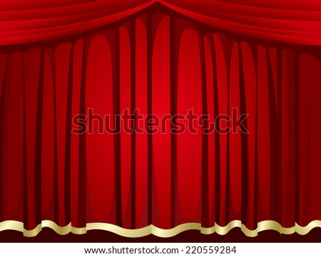 red curtains background Vector  - stock vector