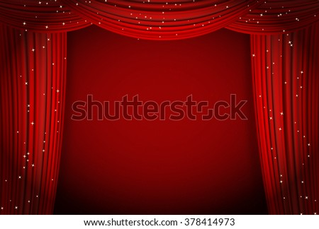 red curtains background with glittering stars.