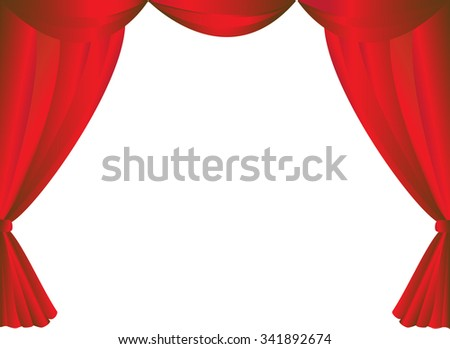 Red curtains frame on white background vector. - stock vector