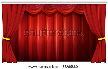Red curtains in background illustration