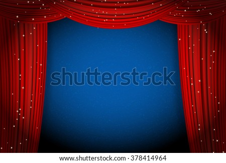 red curtains on blue background with glittering stars - stock vector