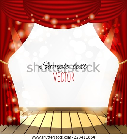red curtains vector background
