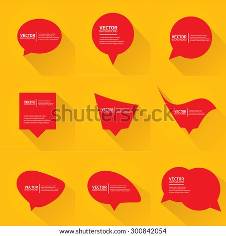 red cut paper speech bubbles on orange. speech bubbles set. vector illustration - stock vector