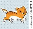 Red cute funny cat run. Vector illustration. - stock vector