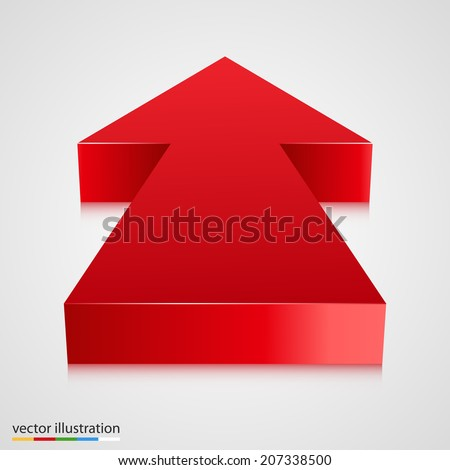 Red 3d arrow pointing towards. Vector illustration - stock vector