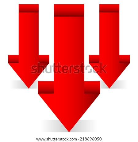 Red 3d arrows down, downward arrows - stock vector