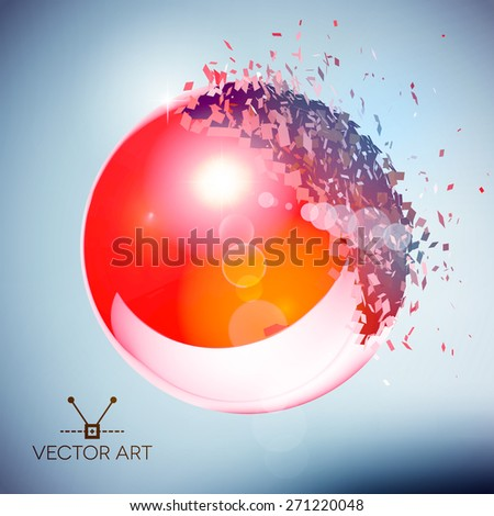 Red 3D ball with flares exploded into messy pieces - stock vector