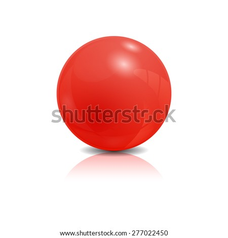 Red 3d glossy sphere isolated on white, vector illustration - stock vector