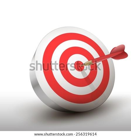 Red dart hitting center of green dart board. - stock vector