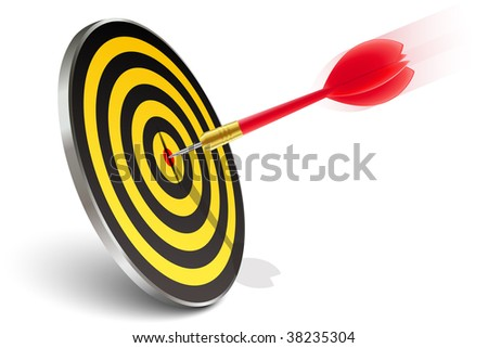 Red dart hitting the target - stock vector