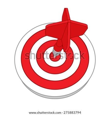 Red darts target aim. Successful shoot. - stock vector