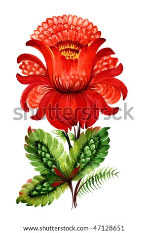 Red decorative flower - stock vector