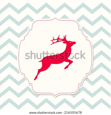 red deer on beige background and chevron texture, christmas illustration, vector, eps 10 - stock vector