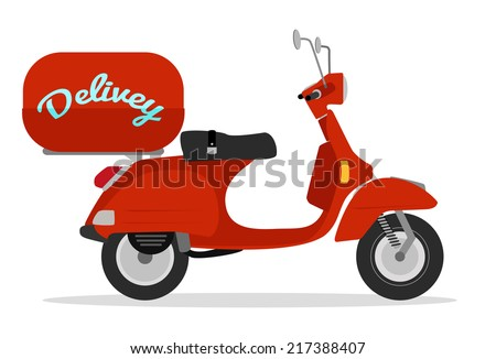 red delivery scooter vintage style