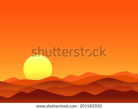 Red desert bright sunrise vector illustration - stock vector