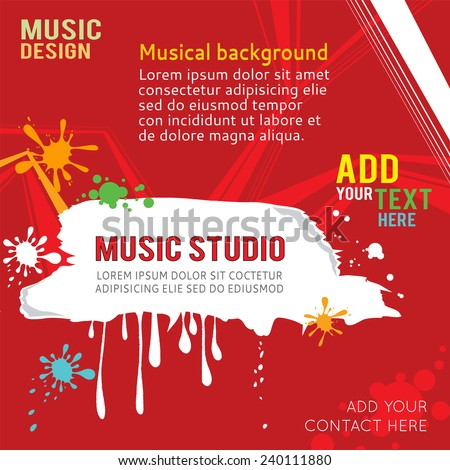Red design music template with place for text. - stock vector