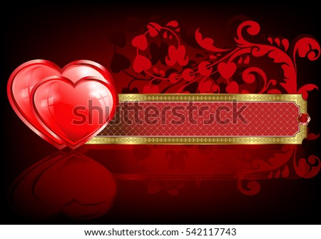 Red design with two hearts and a rectangular frame with gold framing