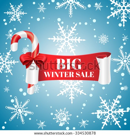 Red detailed curved ribbon sale banner with candy. Winter big sale. Vector illustration  - stock vector