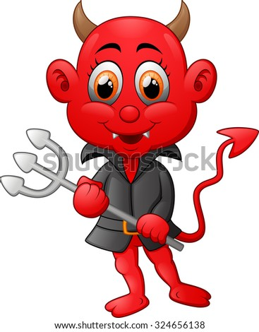 Red devil cartoon - stock vector