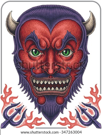Red Devil face. - stock vector