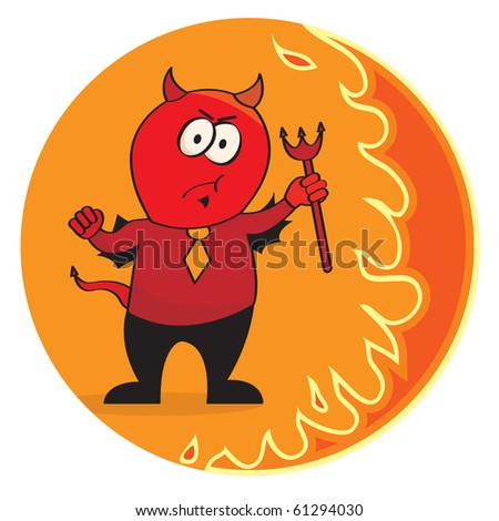 Red devil in a necktie. Vector illustration - stock vector