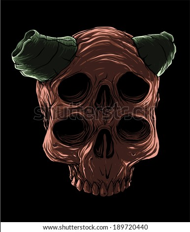 Red Devil Skull - stock vector