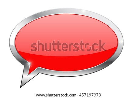 Red dialog bubble icon. Vector illustration isolated on white background