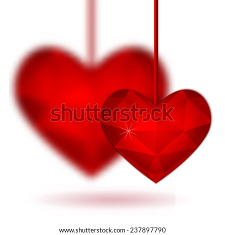 Red diamond abstract heart isolated on a white background. Vector format for valentine or wedding concept. - stock vector