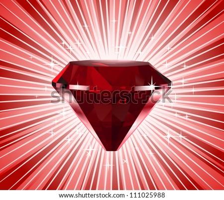 Red diamond. Vector shine background - stock vector