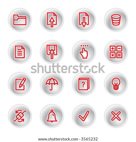 red diary icons - stock vector