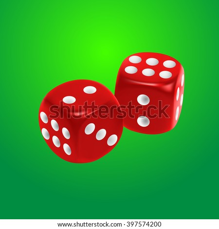 Red dice on green background. EPS10 vector. - stock vector