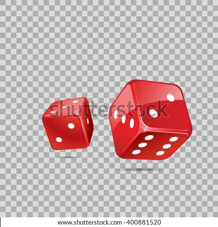 Red dices on transparent backgrund - stock vector