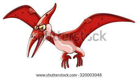 Red dinosaur flying on white illustration - stock vector